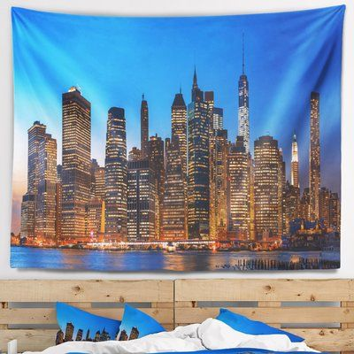 East Urban Home Night New York City Panorama Tapestry And Wall Hanging Size 50 H X 60 W Panorama City