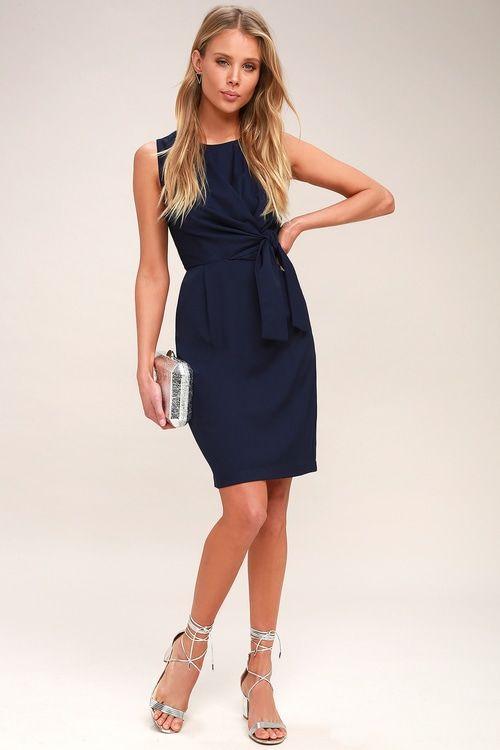 56bbb271eb145 Lulus | Zealous Love Navy Blue Tie-Front Midi Dress | Size Large ...