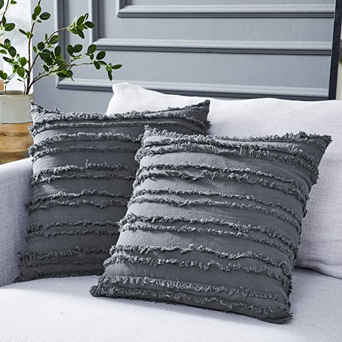 Amazonsmile Longhui Bedding Grey Throw Pillow Cover For Couch Sofa Bed Cotton Linen Decorativ In 2020 Grey Throw Pillows Throw Pillow Cover Couch Black Throw Pillows