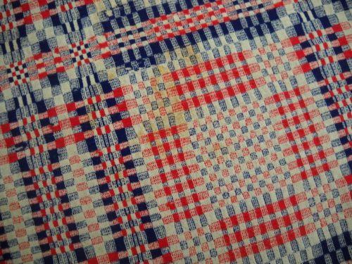 American-1830-Blanket-Weave-Coverlet-Red-White-Blue-Homespun-Woven