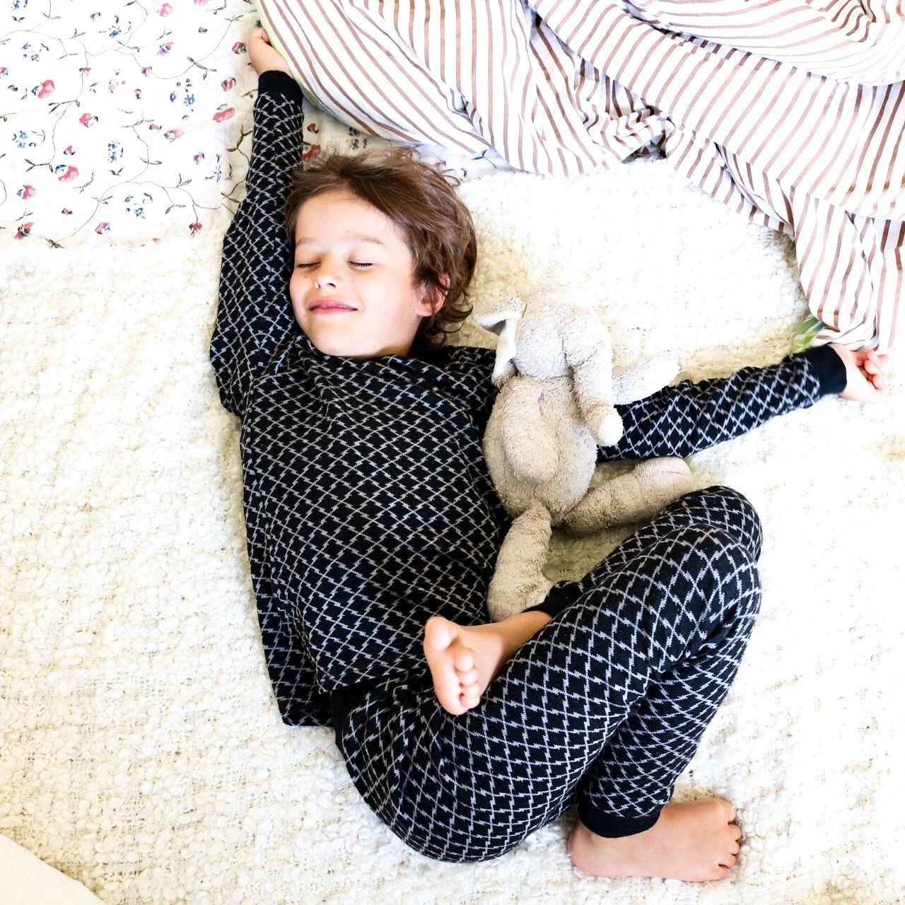 Merino Wool Kids Pajama Set Thermal Underwear Base Layer PJ Unisex.