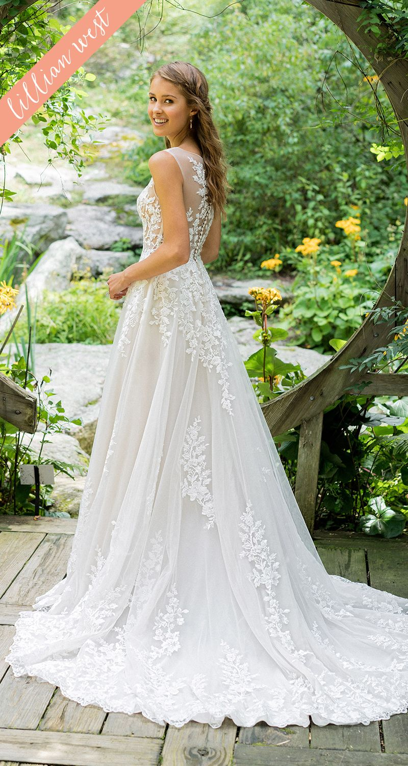 Style illusion bodice with lace appliqué fit and flare