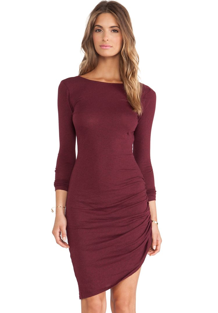 Red long sleeve slim bodycon dress falluwinter pinterest