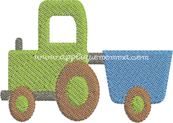 Tractor With Trailor Mini Embroidery Design Emboridery Patterns