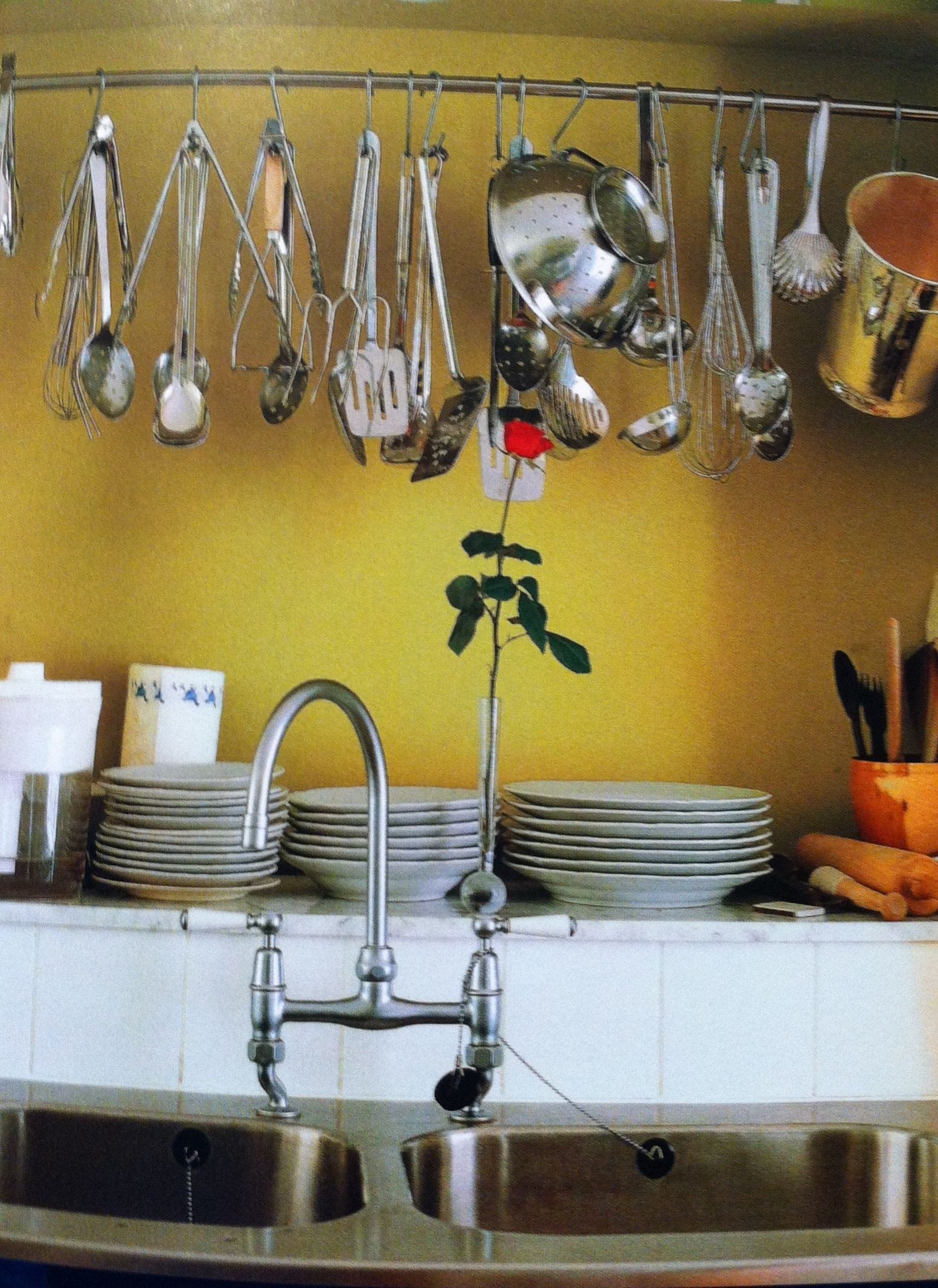 Yellow wall in the kitchen