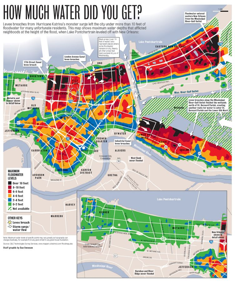 flood map new orleans Map Of Katrina Flood Water Depth And Levee Breaches Flood Levee flood map new orleans