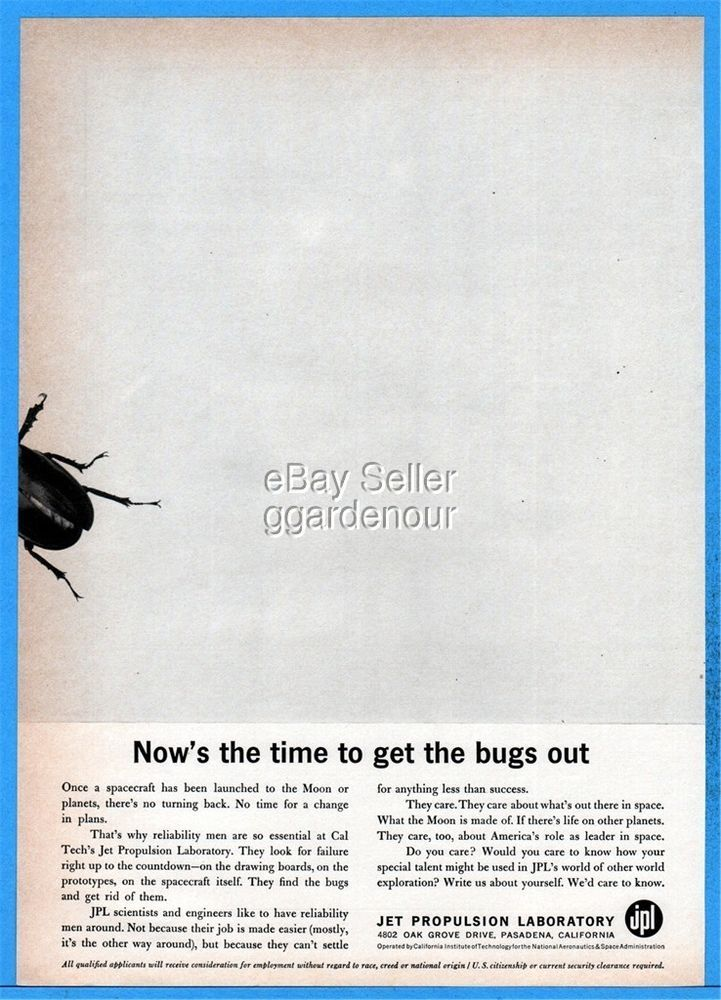 1961 CalTech JPL Jet Propulsion Lab Help Wanted Moon Space Bugs Out Photo Ad