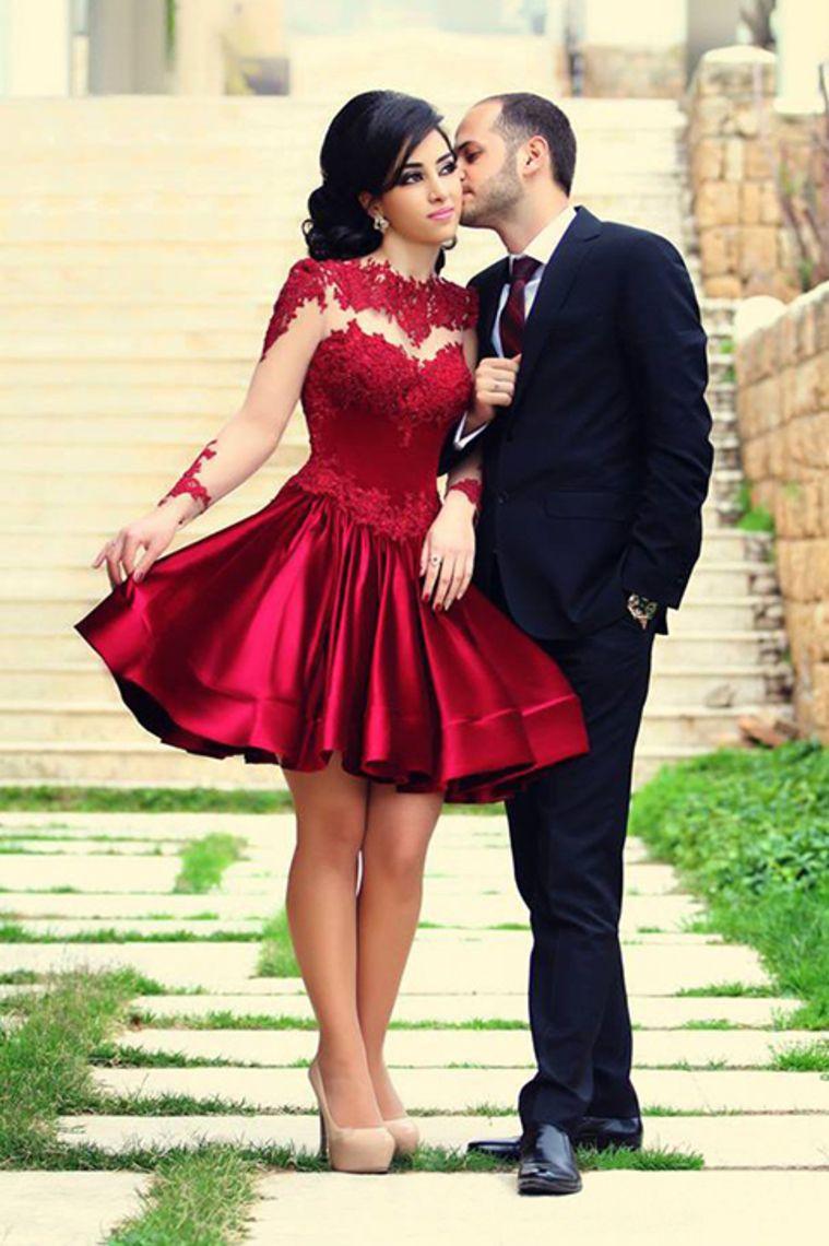 Aline long sleeves scoop short length prom dress from dress