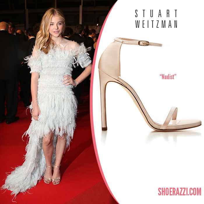 Chloë Moretz in Stuart Weitzman Nudist Ankle-Strap Sandals - ShoeRazzi