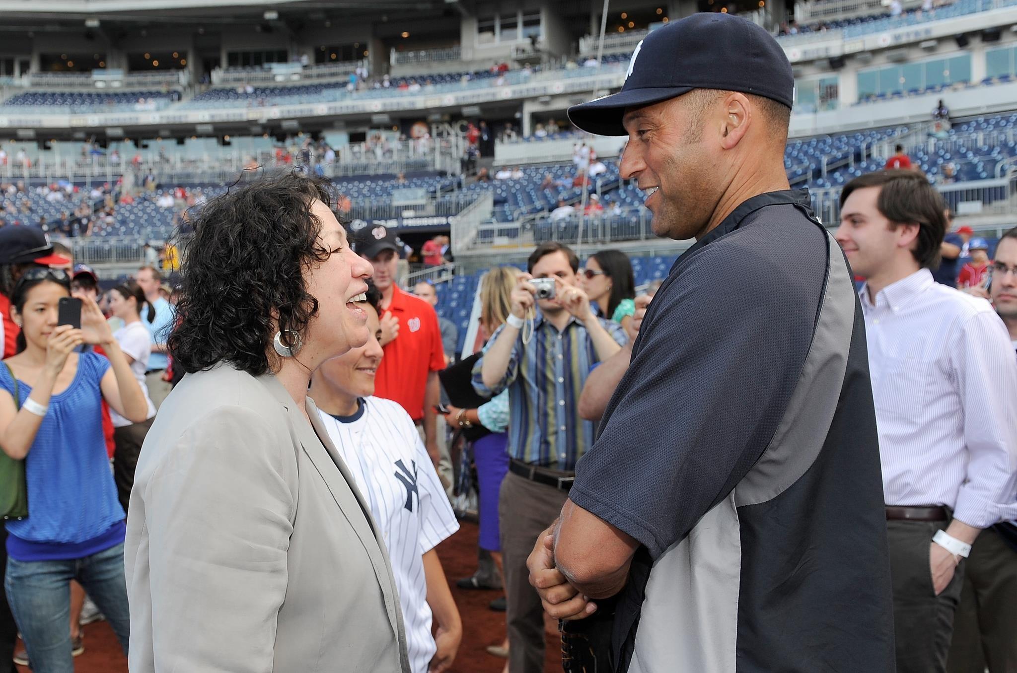 Sonia Sotomayor Justice United States Supreme Court And Derek Jeter Short Stop New York Yankees Bleachers Yankees New York Yankees