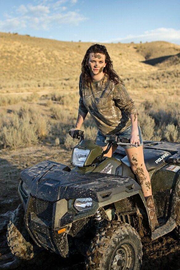 Girls and mud, camo, mudding, Polaris Sportsman 500. Savannah Johnson Photography