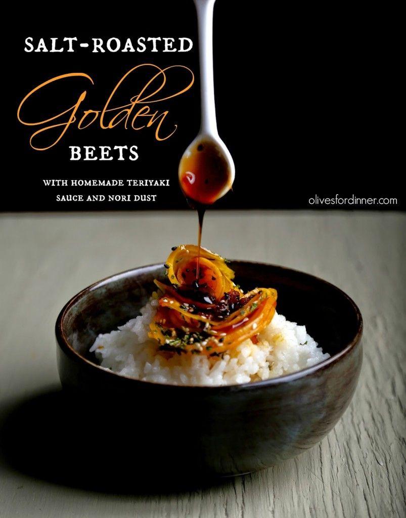 Salt-Roasted Golden Beets with Teriyaki Sauce and Nori Dust