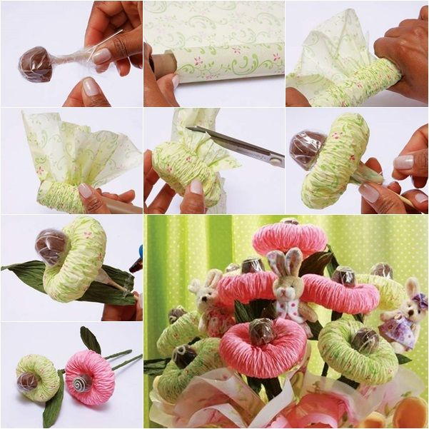 How to Make Special Chocolate Tissue Paper Flower Bouquet tutorial ...