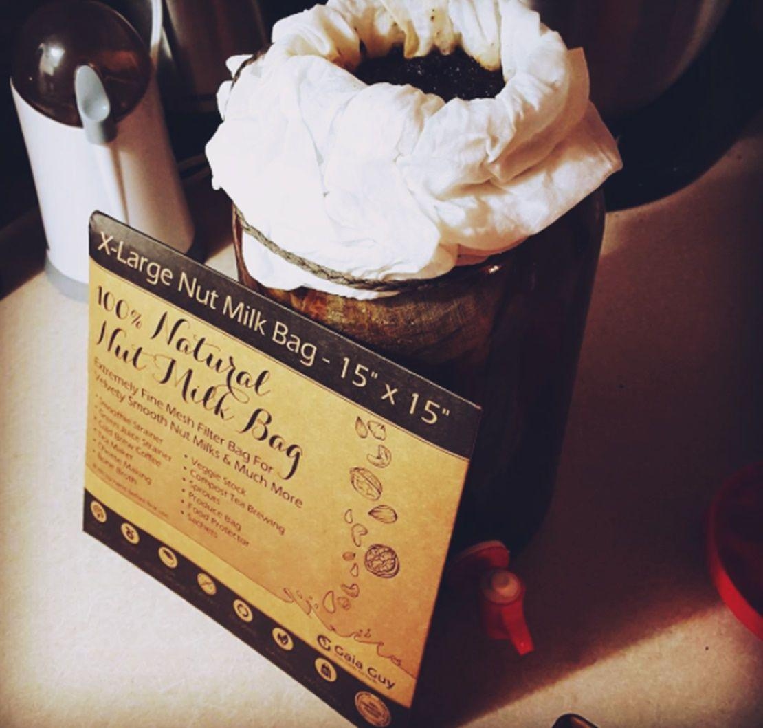 Cold Brew Coffee In A Hemp Nut Milk Bag Yum Gaia Guy