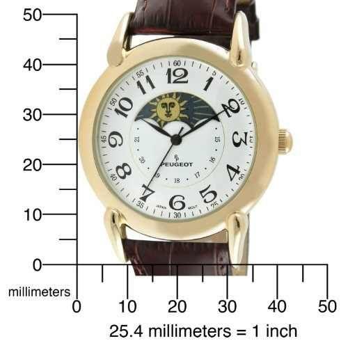 Peugeot Unisex Reloj Dorado Caso Sol Luna Marrón Textura