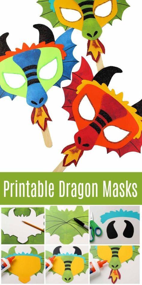 Printable Dragon Mask - Coloring Page and Template