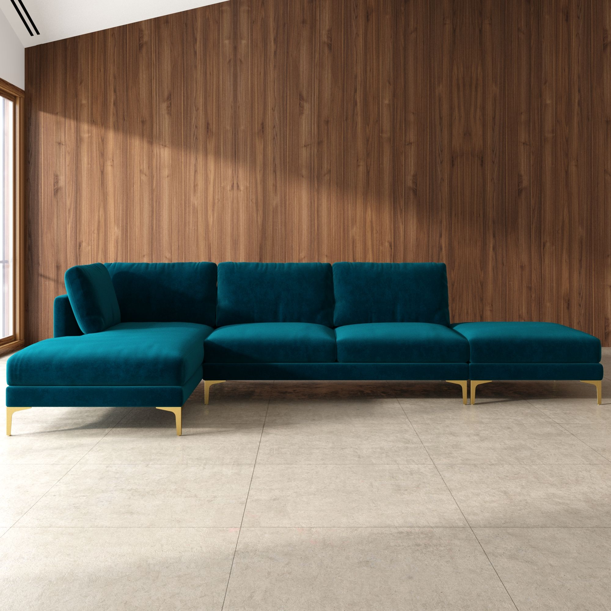 Adams Chaise Sectional Sofa With Ottoman Deep Teal Velvet Left Facing Brass Castlery In 2020 Green Sofa Inspiration Sofa Inspiration Sectional Sofa