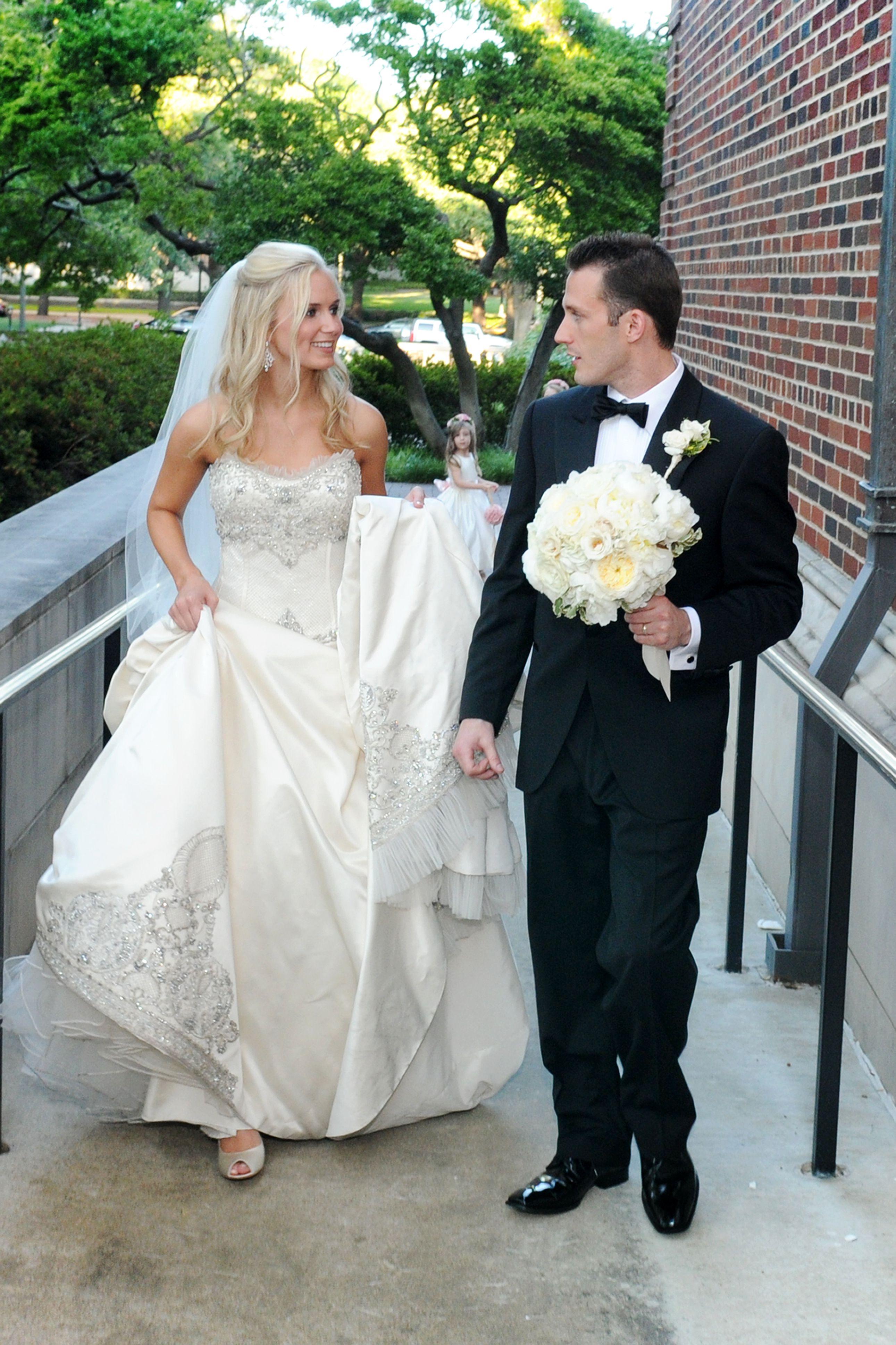 Priscilla of boston wedding dress  Priscilla of Boston dress Black Tux and bowtie  Pink and Gold