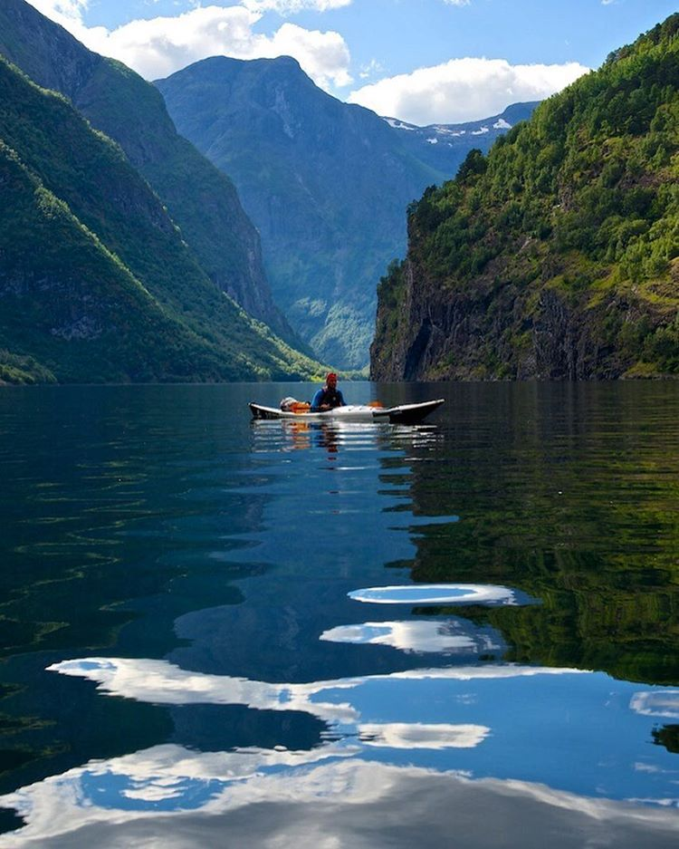 Kayaking on the UNESCO-protected Nærøyfjord, Norway.