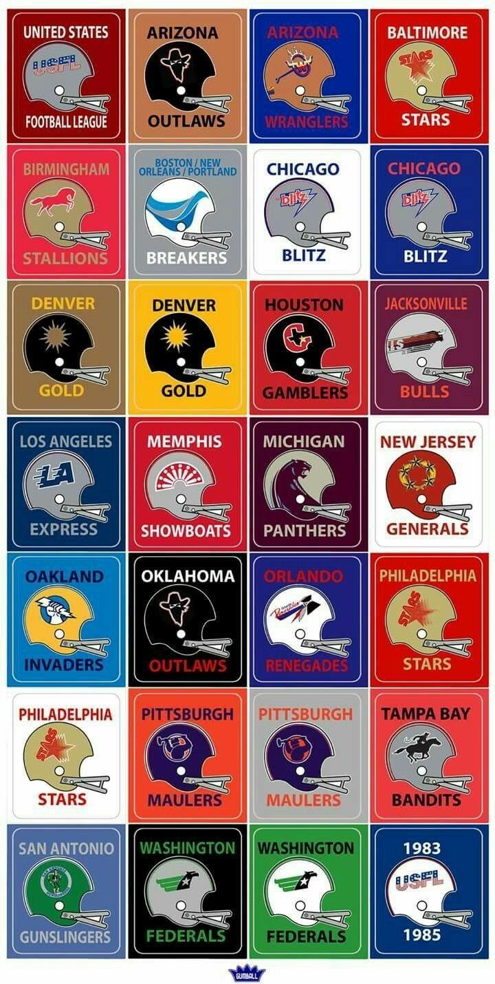 USFL logos. Nfl football helmets