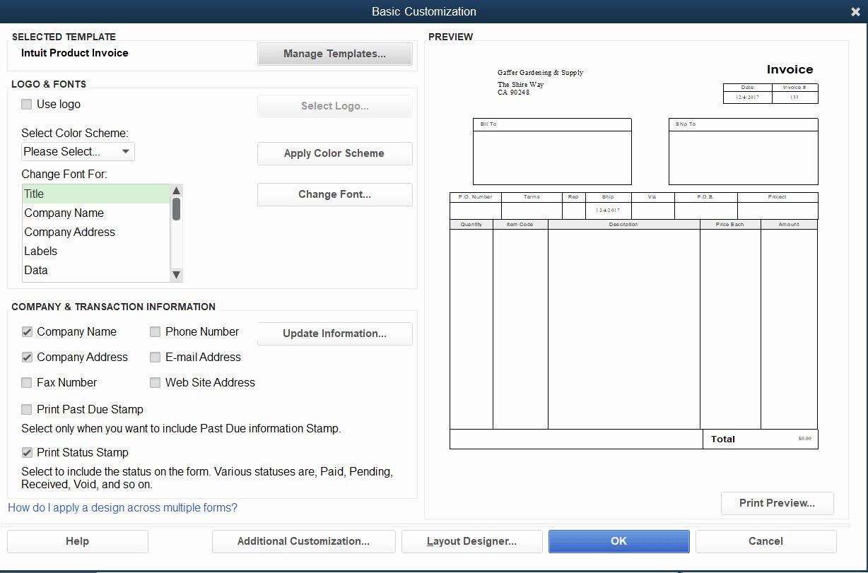 Quickbooks Invoice Templates in 2020 Invoice template