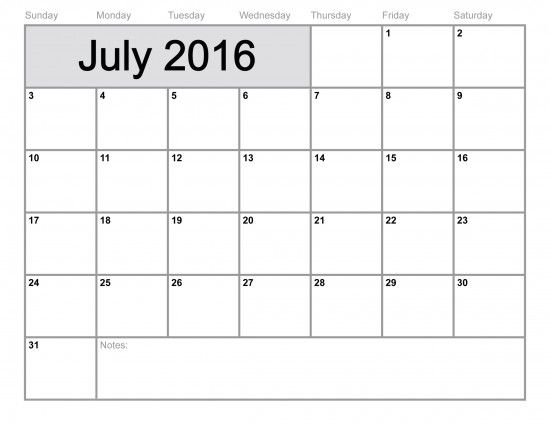 Blank July 2016 Calendar Template July 2016 Calendar with Holidays