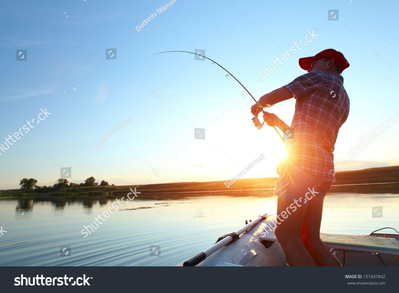 Young Man Fishing On A Lake From The Boat At Sunset Ad Affiliate Fishing Man Young Sunset Fish Man Lake Boat Lake