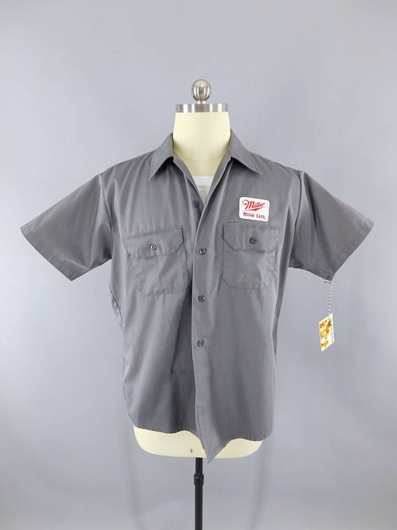 6c6f4813 Miller High Life Beer / Delivery Man / Dark Gray Large Short Sleeve / Work  Shirt / Beer Patch / Patches #BeerDelivery #MillerHighLife #MillerBeer ...