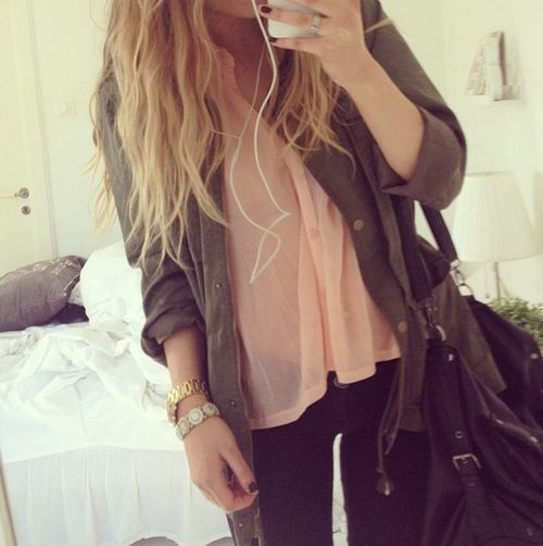 military green and pale pink with black pants Fashion