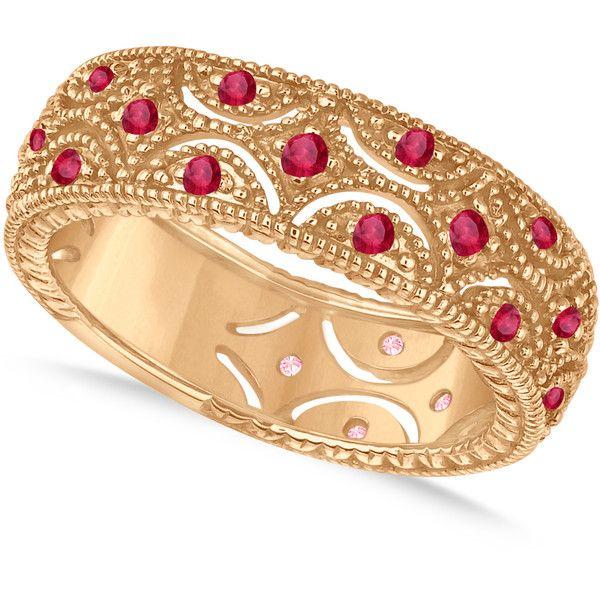 Allurez Ruby Milgrain Vintage Eternity Band 14k Rose Gold (0.38ct) ($940) ❤ liked on Polyvore featuring jewelry, rings, eternity band ring, ruby ring, vintage style wedding rings, rose gold band ring and stacked wedding rings