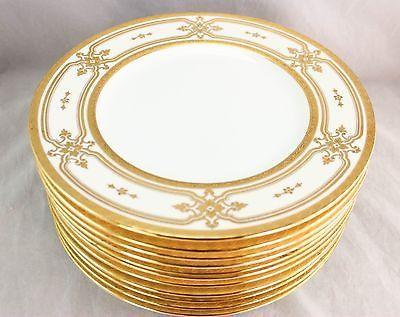 FINE TIFFANY SET 11 MINTON CHINA H4526 DINNER PLATES RAISED GOLD ENCRUSTED WHITE