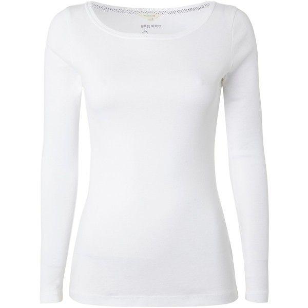 White Stuff Suzie Lou Slash Neck T-Shirt, White ($21) ❤ liked on ...