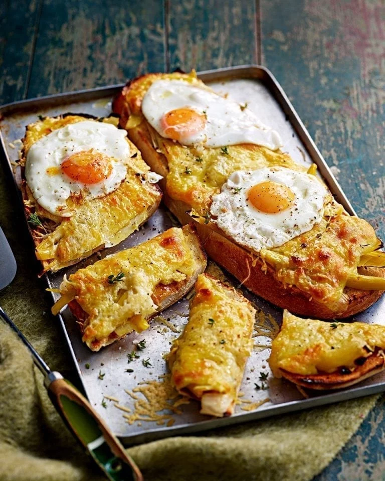 Braised leek and cheddar rarebit recipe | delicious. magazine