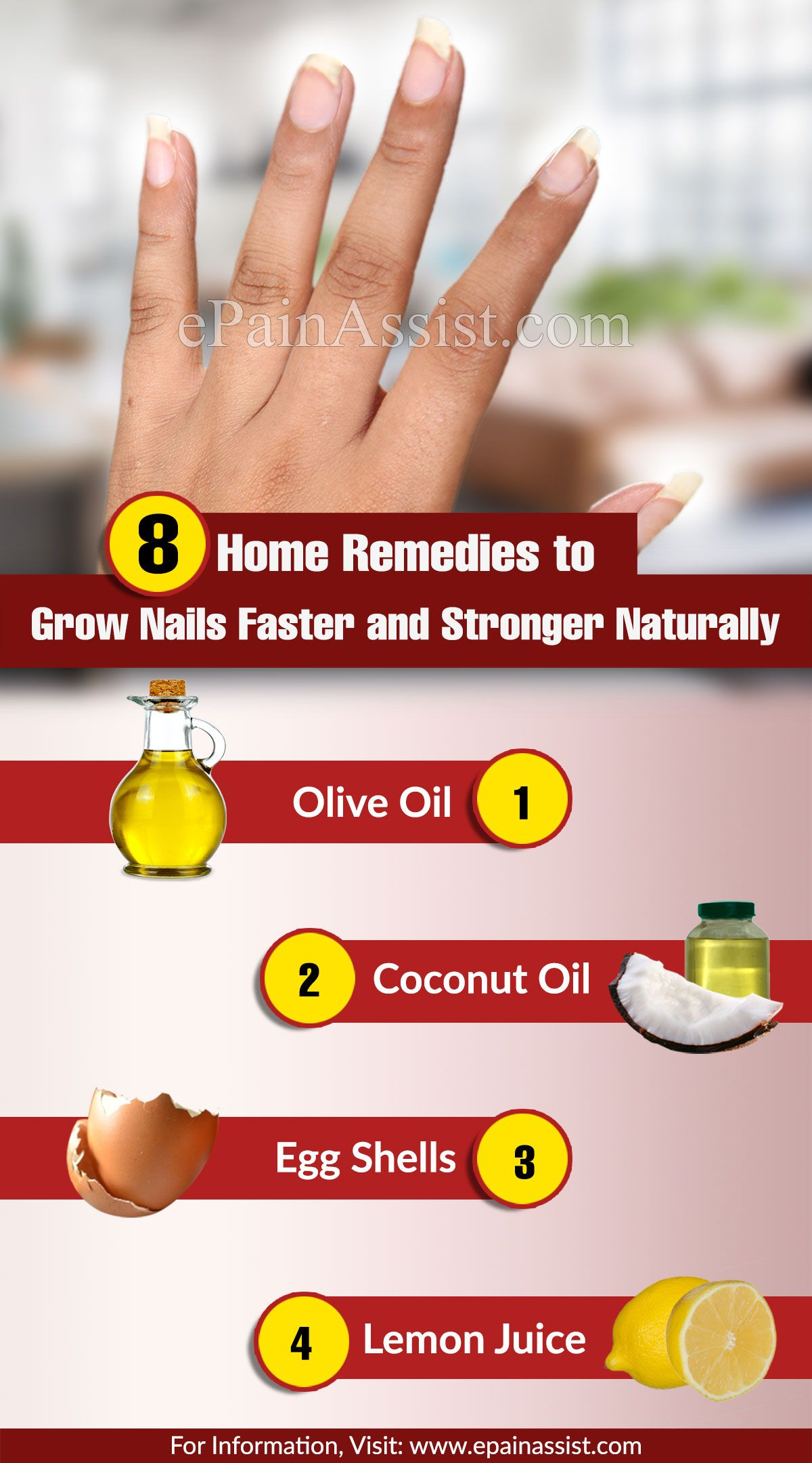 Home Remedies To Grow Nails Faster And Stronger Naturally How To Grow Nails Grow Nails Faster Nail Growth Tips