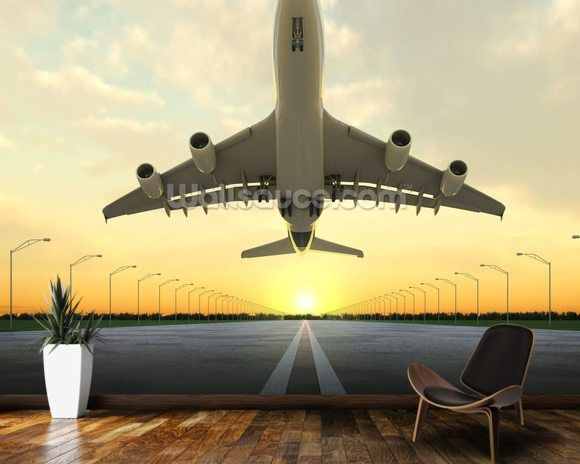 Aircraft Take Off wallpaper mural room setting Taking Off Wallpaper, Wall Wallpaper, Room Set