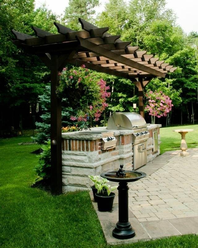 Gartengrill Stein Pergola Steinboden Belag Garten grillplatz