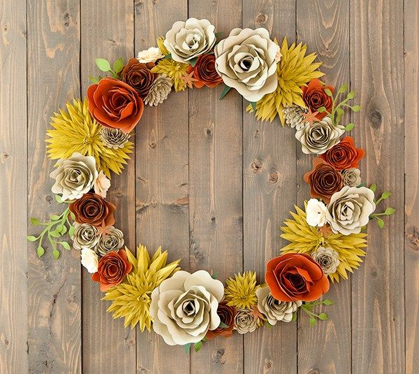 Cricut Fall Floral Wreath Cut And Score The Flowers From Cardstock.  Assemble Flowers Using Hot Glue Gun Images