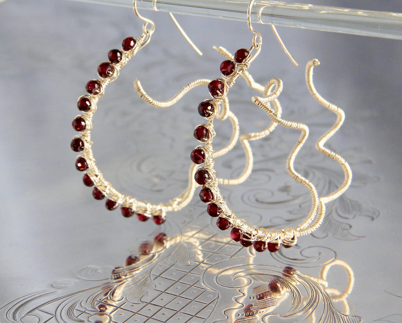 Artisan Made Sterling Silver Spiral Earrings Amethyst Quartz Gemstone Bead Wire Wrap Jewelry