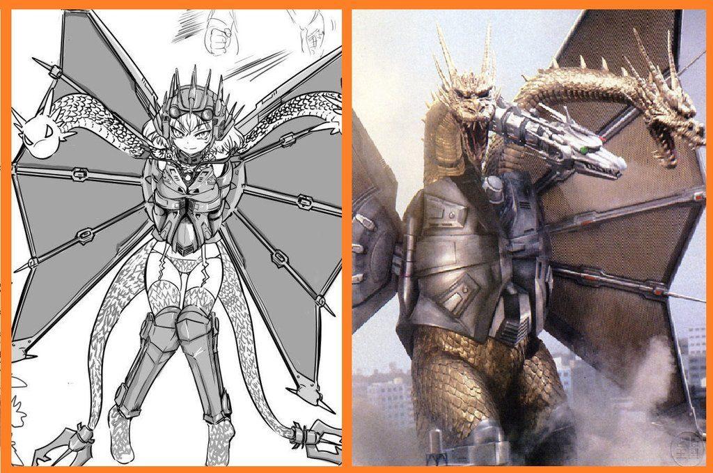 Mecha King Ghidorah Anime Moe fanart. by
