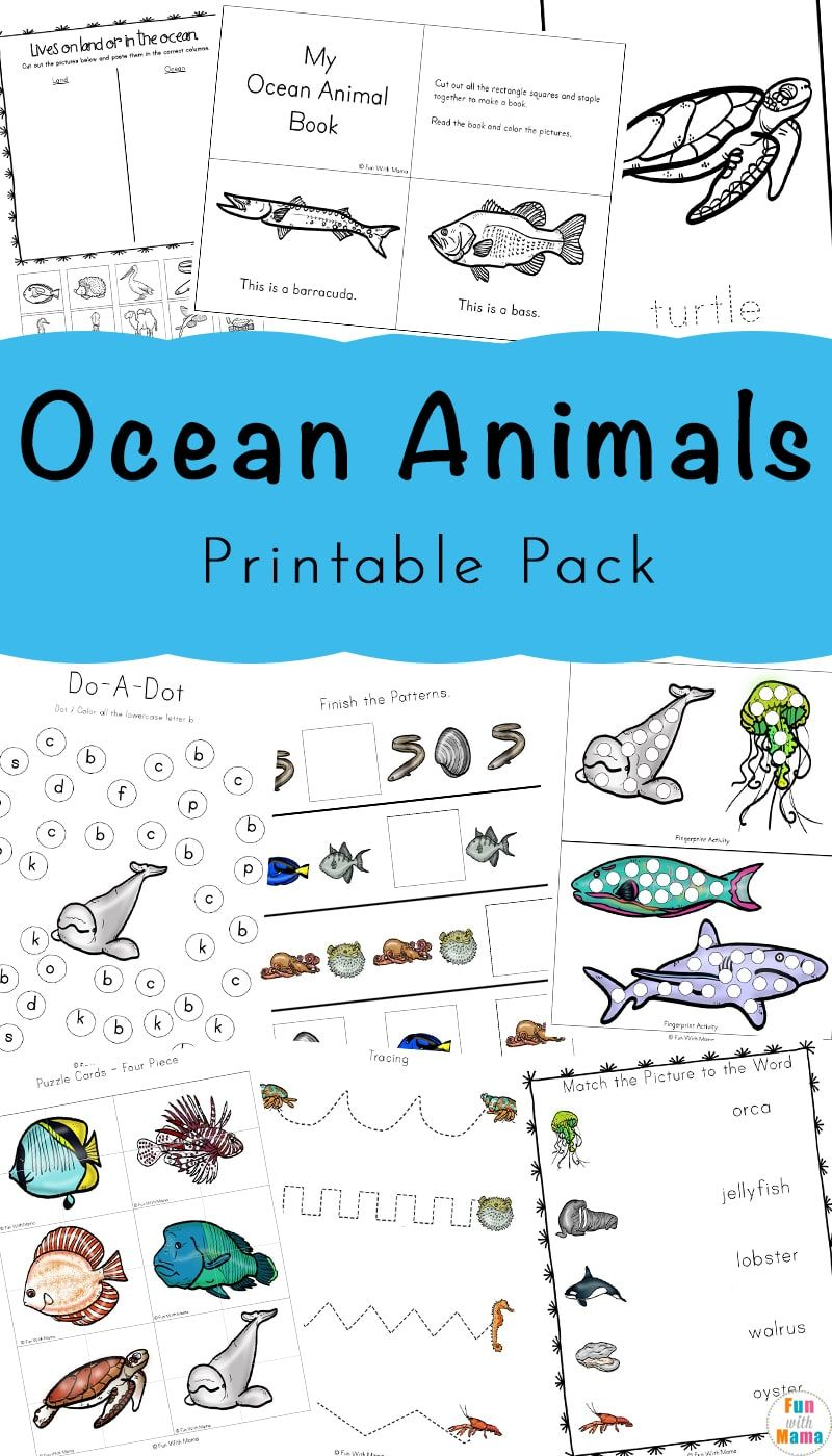 Your Preschoolers Will Love The Ocean Animals Printable Pack ...