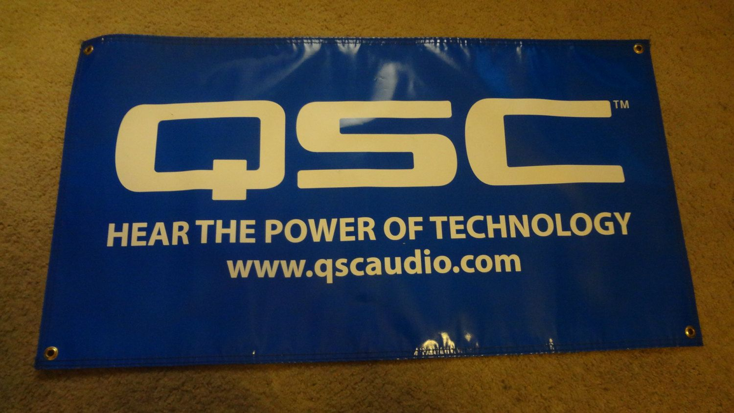 """Rare QSC Audio """"Hear the Power of Technology"""" Blue Banner 36"""" x 19.5"""" by EsthersEssentials13 on Etsy"""