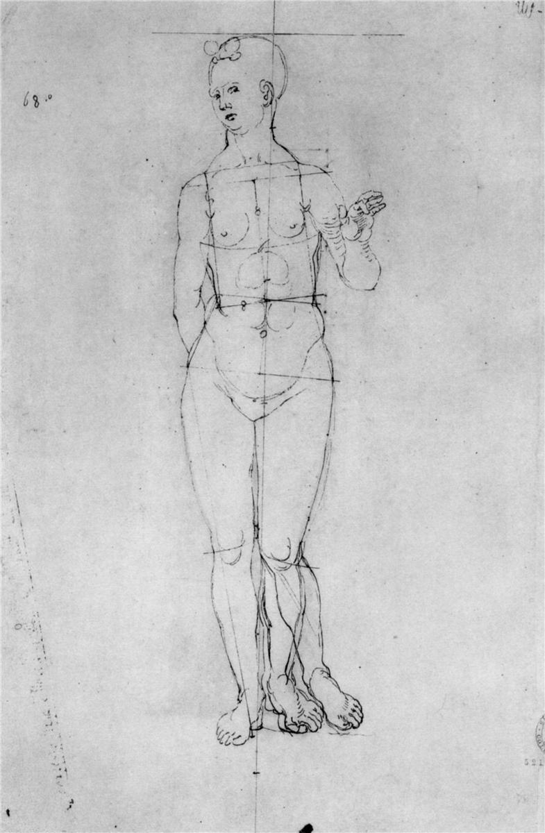 Female Nude Praying Wall Art Poster Print Albrecht Durer