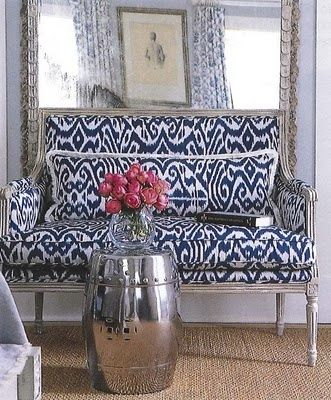 ikat victorian sofa navy and white ikat silver garden stool and rh pinterest com Ditte Sofa Blue Ikat Tablecloth