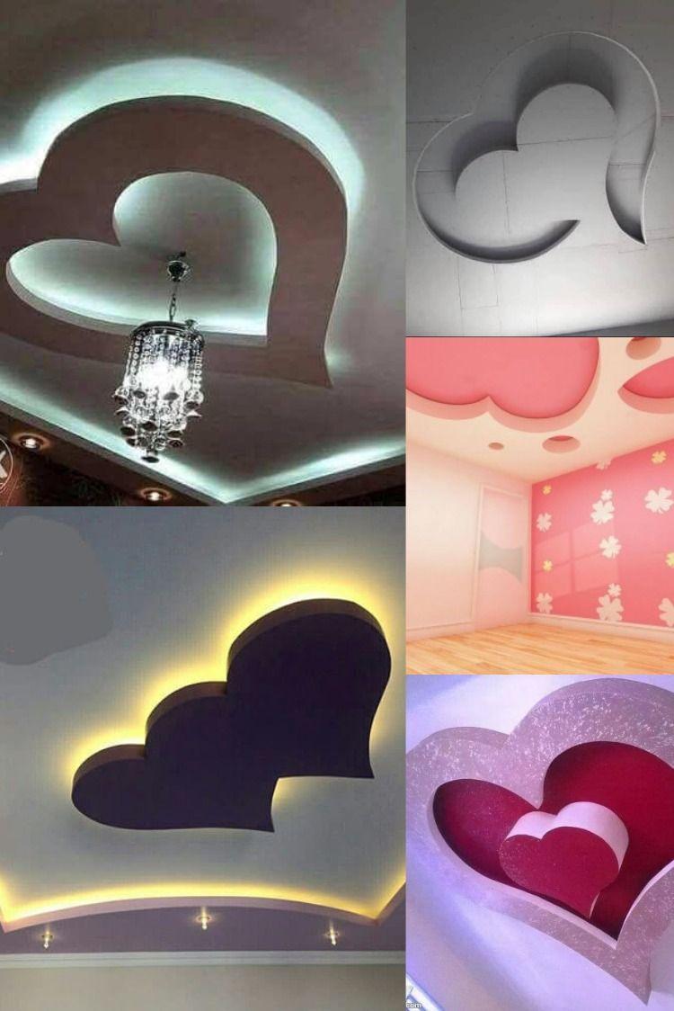 ديكورات جبس بورد للغرف على شكل قلب بلمسات عصرية Decor Board Decoration Design
