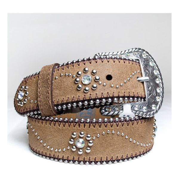 C60145 - Brown Nocona Girls rhinestone studded belt. - Alcala's... ($25) ❤ liked on Polyvore featuring belts