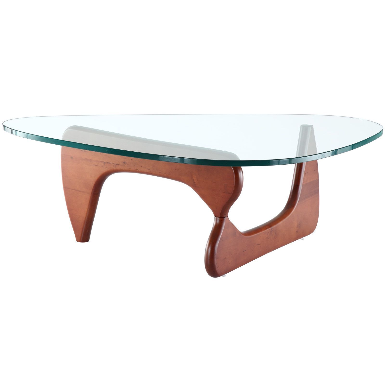 Good Noguchi Style Triangle Wood And Glass Coffee Table With Cherry Wood Base Good Ideas