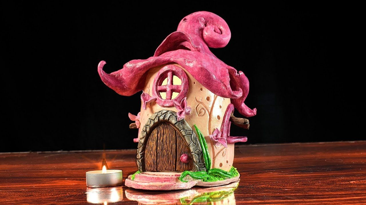 ♡ DIY Fairy House Flower Clay Candle Holder DIY Air