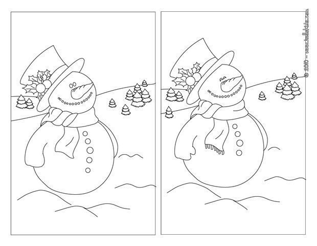 Snowman  holly printable spot the difference game  kolka