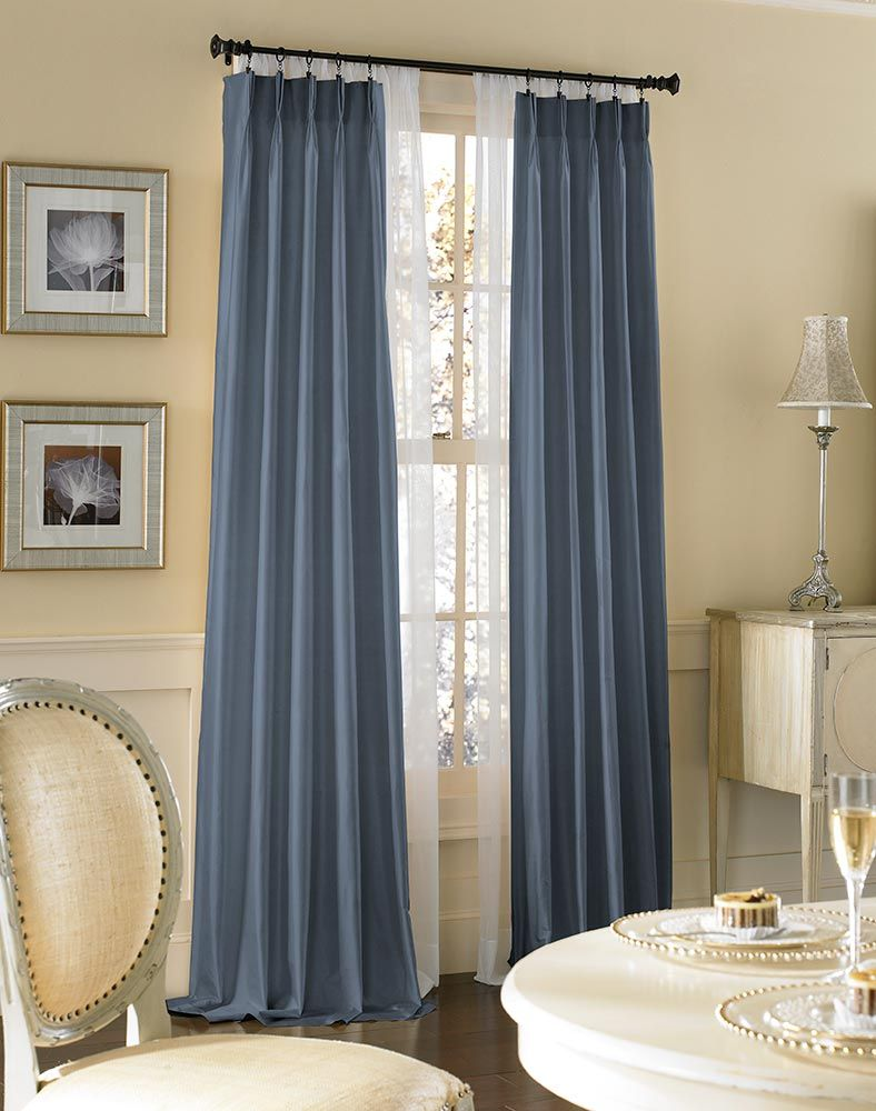 "dupioni silk pinch pleat curtain panel. 95"" long for $109.99"