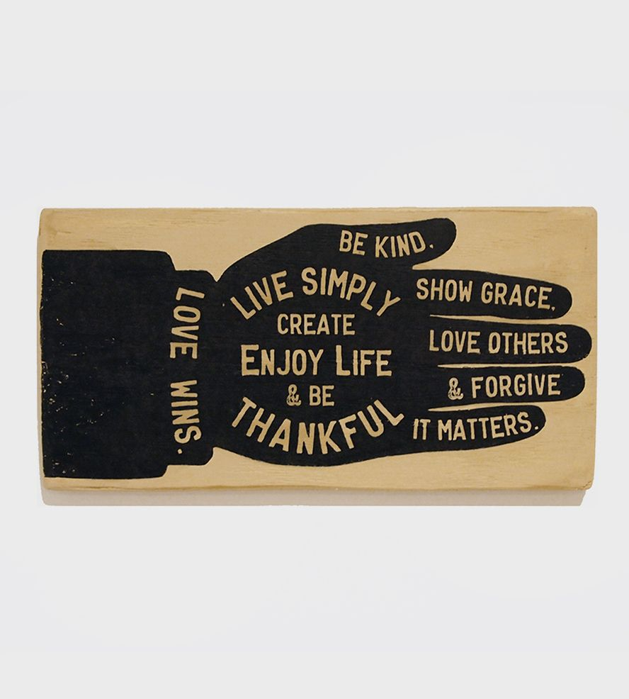 Small Hand & Motivational Sayings Sign | Modeled after vintage advertisements, this wood sign is sellin... | Mixed Media Art